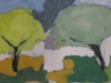 FM Vettergreen, Trees, Altadore; oil and wax on canvas, 12 x 24 inches