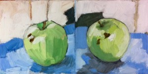 F. Vettergreen, green apple twice, 2011; oil and wax on canvas, 6 x 12 inches