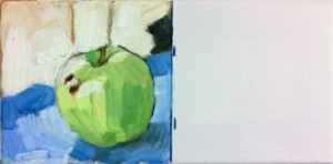 "F. Vettergreen, first half of ""green apple twice"", 2011; oil and wax on canvas, 6 x 12 inches"