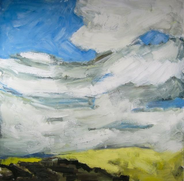 """Corn Maze No. 2"", 2013; oil and wax on panel, 30 x 30"", © FM Vettergreen"